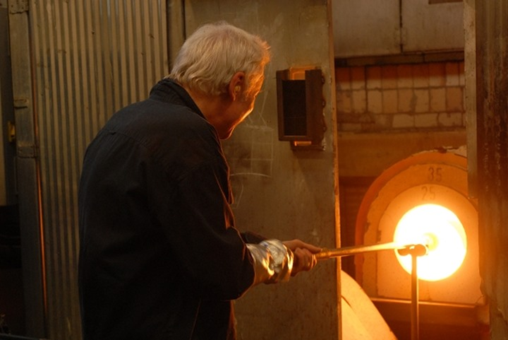 Heating up of glass in hot furnace during the warming up process