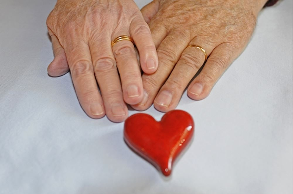 Hands of two people and heart