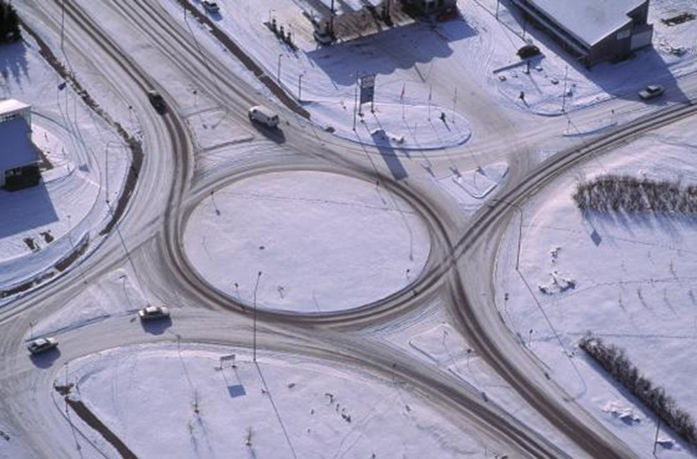 Aerial view over a traffic circle in Akureyri