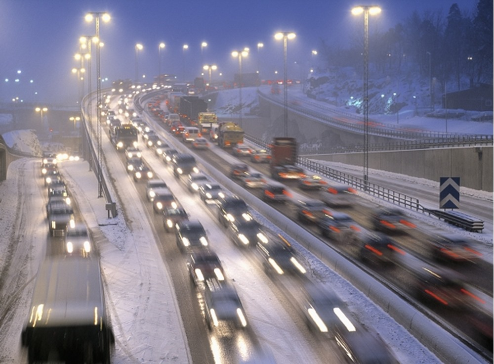 TRAFFIC ON A HIGHWAY IN WINTER.