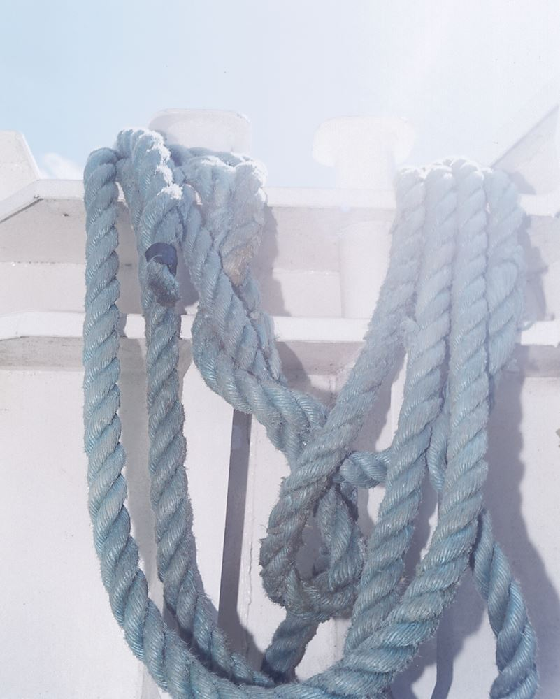 A rope on a dock in sunshine
