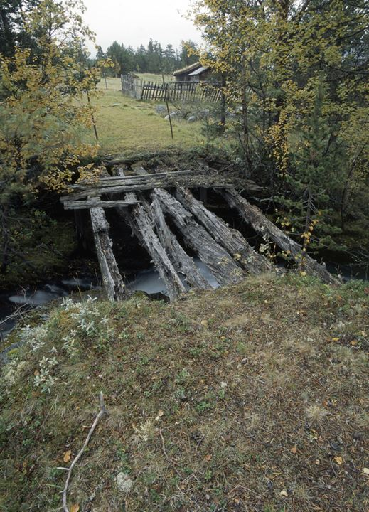 Remains of a wooden bridge over a stream