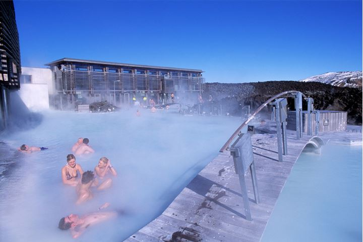 Group of people chatting in the Blue lagoon.